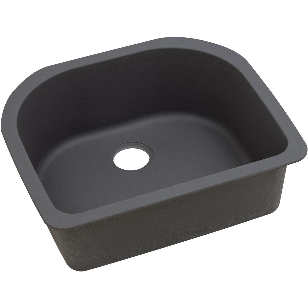 Elkay Quartz Luxe 25 x 22 x 8.5 Single Undermount Sink Caviar