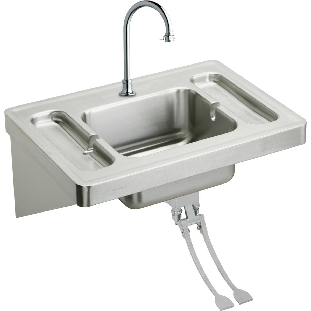 Elkay Eslv2820fc Wall Mount 16 Gauge Stainless Steel Surgeons Bathroom Sink With Spout Foot Valve A